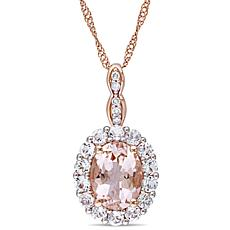 1.13ctw Pink Morganite, Topaz and White Diamond 14K Ros