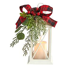 """12"""" Holiday White Lantern With Berries, Pine and Plaid Bow"""