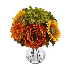 12 in. Peony, Dahlia and Sunflower Artificial Arrangement in Glass ...