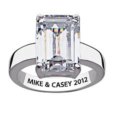 14.42ctw Emerald-Cut CZ Engraved Silver Promise Ring