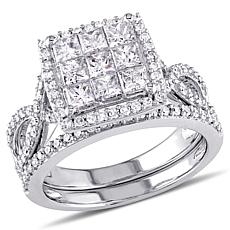 1.49ctw Princess and Round White Diamond Ring Set