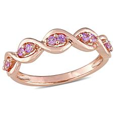 14K 0.26ctw Pink Sapphire Stackable Infinity Ring