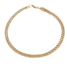 "14K 2-tone Rope and Bead Chain 7-1/2"" Wrap Bracelet"