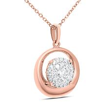 "14K Gold 0.2ctw Diamond Circle Pendant with 18"" Chain"