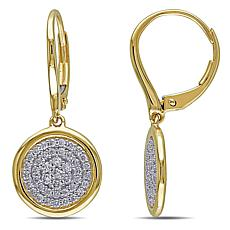 14K Gold 0.50ctw Diamond Circle Leverback Drop Earrings