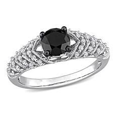 14K Gold 0.84ctw Black and White Diamond Chevron Engagement Ring