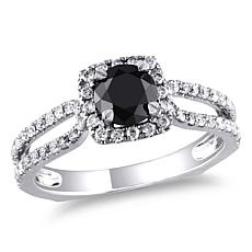 14K Gold 1.22ctw Black and White Diamond Engagement Rin