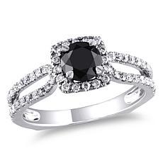 14K Gold 1.22ctw Black and White Diamond Engagement Rin