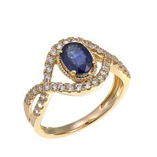 14K Gold 1.49ct Sapphire and White Zircon Figure 8 Ring