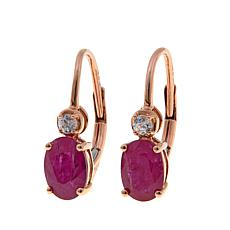 14K Gold 1.65ctw Mozambique Ruby and Zircon Earrings