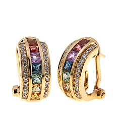 14K Gold 1.65ctw Multi-Sapphire & Diamond Earrings