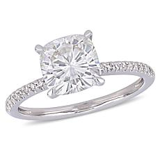 14K Gold 2.25ct Moissanite & .11ctw Diamond Cushion-Cut Solitaire Ring