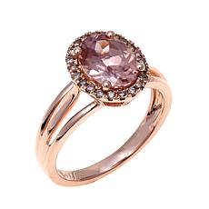 14K  Gold 2.5ctw Pink Zircon and Diamond Ring