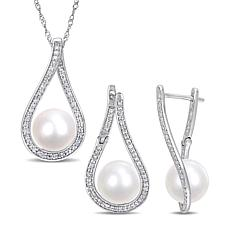 14K Gold Cultured Pearl and Diamond Teardrop Earrings and Pendant