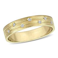 14K Gold Diamond-Accented Matte Ribbed Stack Ring