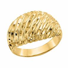 14K Gold Diamond-Cut Domed Ring