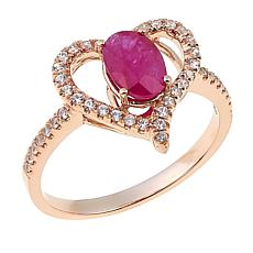 14K Gold Gemstone and White Zircon Heart Ring