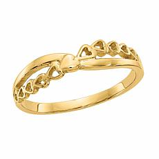 14K Gold Heart-Design X-Ring