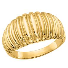 14K Gold Polished Ribbed Dome Ring