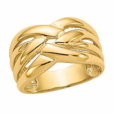 14K Gold Polished Woven Dome Ring
