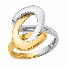 "14K Gold Two-Tone Swirl ""O"" Ring"