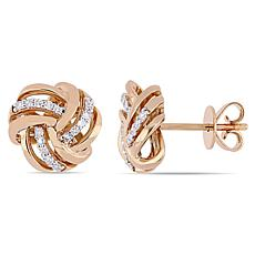 14K Rose Gold 0.15ctw Diamond Knot Stud Earrings