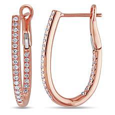 14K Rose Gold 0.25ctw White Diamond Pavé Hoop Earrings