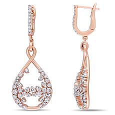 14K Rose Gold 1.30ctw Diamond Teardrop Dangle Earrings