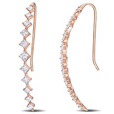 14K Rose Gold 1.75ctw Diamond Station Wire Hook Earrings