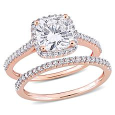 14K Rose Gold 2.25ctw Moissanite and .35ctw Diamond 2-piece Ring Set