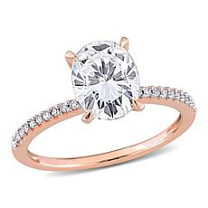 14K Rose Gold 2ctw Moissanite and .10ctw Diamond Oval Engagement Ring