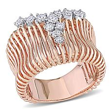 14K Rose Gold .45ctw Diamond Concave Ribbed Ring
