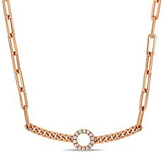 14K Rose Gold Diamond-Accent Curb-Link Bar Necklace