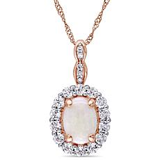 "14K Rose Gold Diamond Accent with Opal & White Topaz ""Vintage"" Pendant"