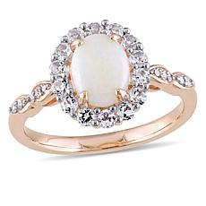 "14K Rose Gold Diamond Accent with Opal and White Topaz ""Vintage"" Ring"