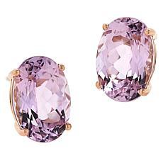 14K Rose Gold Kunzite 14x10 Oval Stone Stud Earrings