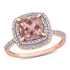 14K Rose Gold Morganite and Diamond Double Halo Ring