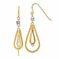 14K Two-Tone Teardrop Dangle Earrings