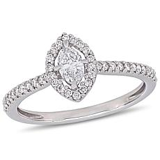 14K White Gold 0.49ctw Marquise Diamond Engagement Ring