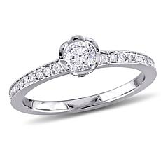 14K White Gold 0.50ctw Round Diamond Engagement Ring