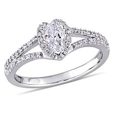 14K White Gold 0.75ctw Diamond Oval Engagement Ring