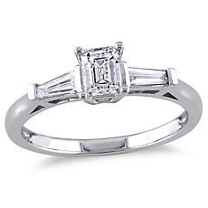 14K White Gold 0.7ctw 3-Stone Tapered Diamond Engagement Ring