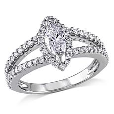 14K White Gold 0.84ctw Marquise and Round Diamond Ring