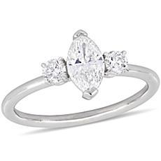 14K White Gold 0.97ctw Marquise Diamond 3-Stone Engagement Ring