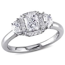 14K White Gold 1.04ctw Diamond 3-Stone Halo Engagement Ring