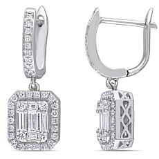14K White Gold 1.12ctw Diamond Halo Dangle Earrings