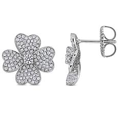 14K White Gold 1.13ctw Diamond Clover Leaf Stud Earrings