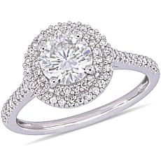14K White Gold 1.25ct Moissanite and 0.34ctw Diamond Double-Halo Ring