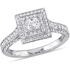14K White Gold 1.27ctw Square Diamond Engagement Ring