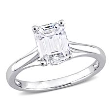 14K White Gold 1.46ctw Moissanite Octagon Solitaire Engagement Ring